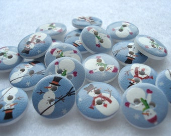 15mm Wood Buttons Snowman Print on Blue Pack of 20 Christmas Buttons CR25b