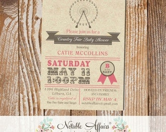 Carnival County Fair Rustic Vintage Ferris Wheel Baby Shower Invitation Circus Birthday party Baby Shower - dark accent color only