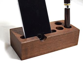Walnut iPhone 7 dock or 7 Plus dock charging stand smartphone dock samsung galaxy dock charging stand pen holder iphone 6 plus docking stati