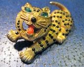 Cat Leopard Pin vintage rhinestone brooch