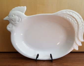 Vintage Stoneware Rooster / Chicken Serving Dish