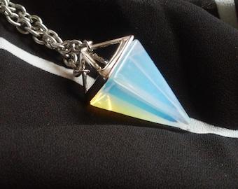 Opalite Pyramid Top Pendulum Necklace