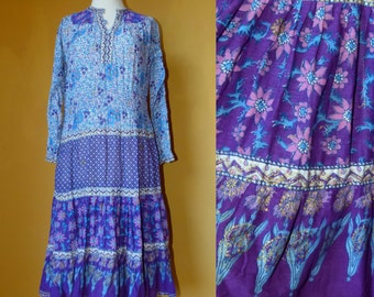 RESERVED on LAYAWAY 70's Indus S/M India tiered semi-sheer soft cotton gauze floral metallic gold purple block print festival midi dress