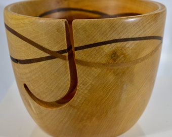 1039 Yarn bowl, made from Spalted Maple with a double wave of Black Walnut