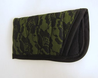 Lacy Eye Glass Case, Soft Quilted Glasses Case, Green Eye Glass Case
