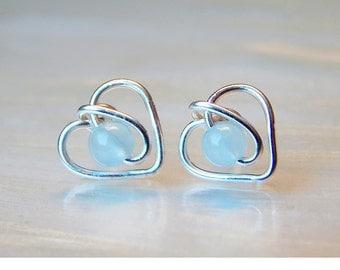 Aquamarine Earrings, Aquamarine Stud Earrings, Heart Earrings, Gemstone Earrings, March Birthstone, Sterling Silver, Bridesmaids Gifts