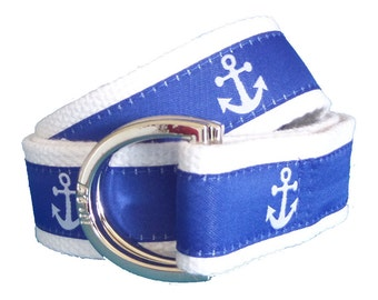 Nautical Anchor  Belt/ Ribbon Belt/ Woman's Belt/ Men's Belt/ Canvas Belt/ Preppy Belt/ White Anchors on Royal Ribbon D-Ring Belt