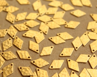 18 pc. Raw Brass Hammered Diamond Charms: 8mm by 12mm - made in USA | RB-660