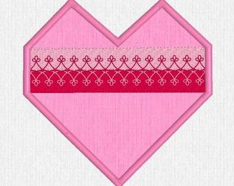 Striped Heart Applique - Embroidery Design - Digitized
