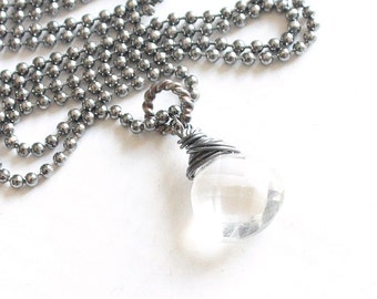 Rock Crystal Necklace, Wire Wrapped Quartz Pendant, Gemstone Necklace, Sterling Silver Icicle Necklace