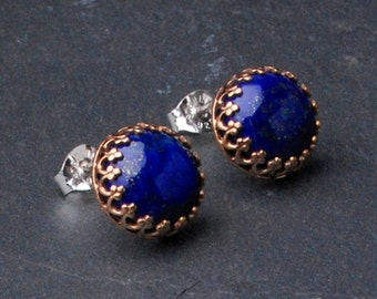 Lapis Crown Set Stud Earrings- Lapis Lazuli Jewelry- Blue Gemstone Earrings- Natural Gemstone Earrings- Bronze Earrings- Gemstone Posts