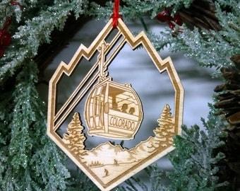 Colorado Gondola Ornament, Poplar Wood
