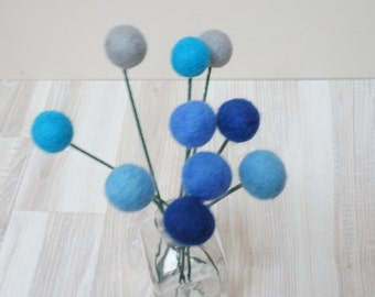 Felt pom pom flowers craspedia bouquet multicolor wool balls turquoise blue navy royal sky arrangement stem floral Easter Billy buttons