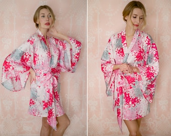 "The Painter's Garden. One custom ""Noguchi"" kimono robe in the softest fabric. With pockets. Long womens kimono robe."