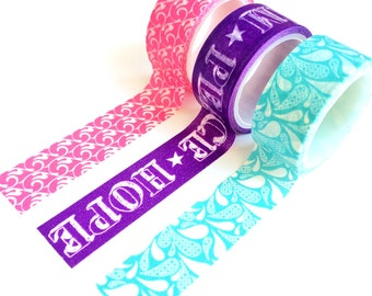 Set of 3 Washi Tapes Pink / Purple / Turqoise small