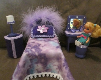 OOAK Handmade Bedroom Furniture for Barbies sister Kelly or Liddle Kiddle Skediddle  same size dolls