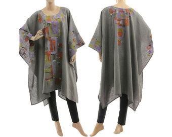 Grey boho linen poncho cape, handpainted grey linen poncho, summer or party poncho / lagenlook small to plus size S-XXL, US size 6 up to 22