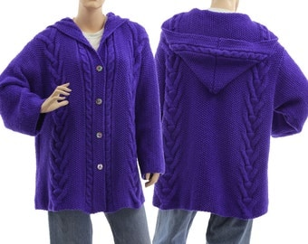 Hand knitted hooded blue sweater cardi, oversized hooded sweater cabled and textured, baby alpaca mix sweater plus sizes L-XL, US size 14-18