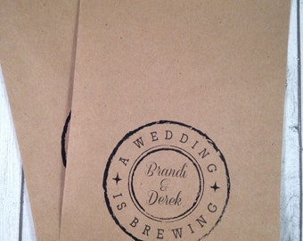 Coffee Favor Bags, Tea Favors, Wedding or Bridal Shower Favor Bags, Personalized  Favors Pkg of 25