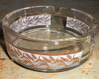 Vintage Ash Tray, Clear Glass, Wheat, Small, Round, Glass Ash Tray, Wheat Ash Tray, Mad Men, Bar Ware, Ashtray