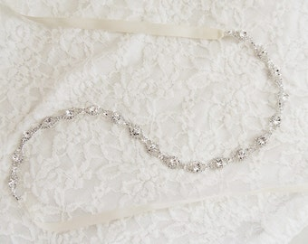 "18"" Thin Crystal Bridal Gown Sash Belt, Crystal Sash, Wedding Dress Sash belt, Thin Rhinestone Beaded Sash"