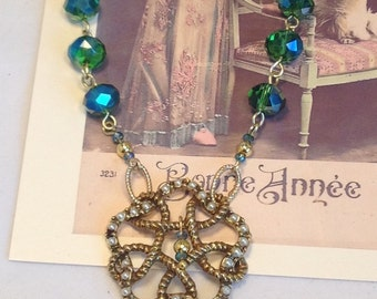 Green-Blue Austrian Crystal Necklace Assemblage Repurposed Vintage Pearl Brooch Pendant  Celtic One-of-a-Kind Beauty WishAnWearJewelry XO