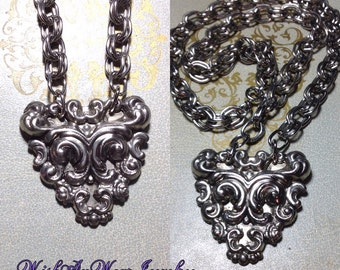 Ornate Silver Necklace Upcycled Vintage Repousse Shoe Clip Redesigned Repurposed Heavy Double Link Chain Handmade OOAK WishAnWearJewelry