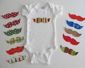 Holiday Iron on Mustache Appliques - Holiday Shirt DIY