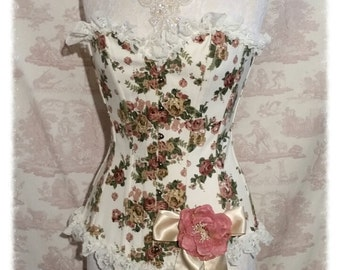 "CORSET SALE FLORAL Corset 26"" Waist Cotton Overbust  Burlesque Lolita  Wedding By Ophelias Folly"