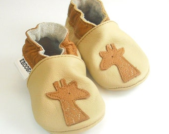 soft sole baby shoes infant  girl boy gift giraffe beige brown 6 12 ebooba 430-2