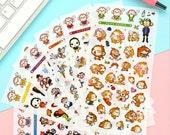 Lucky Monkey Deco Sticker Set - Korean Sticker - Diary Sticker - FiloFax - PVC - 6 sheets in