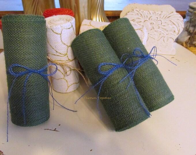 "Hunter Green Burlap Ribbon, Green Burlap, Christmas Garland 6"" Wide, Fall Burlap Garland, Fall Ribbon, Craft Supply, Christmas Home Decor"