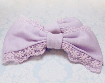Lolita purple bow mini lavender hair clip sweet cute kawaii classic