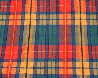 Vintage Seersucker Fabric by the yard, Plaid Red Yellow Green Fabric, Sewing Quilting Fabric Material, Fabric BTY