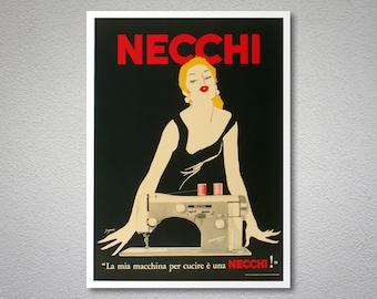 Necchi, La Mia Macchine Per Cucire e Una Vintage Poster - Art Print - Poster Paper, Sticker or Canvas Print
