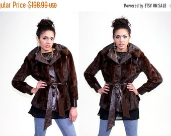 HALLOWEEN SALE 20% OFF 1970s Mink Fur Leather Bohemian Jacket