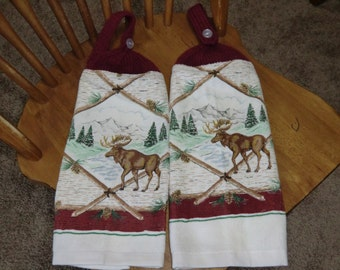 Moose,  Mountains & Pine Trees  Knit Top Kitchen Towels