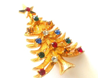 Eisenberg Christmas Tree Brooch / Pin Gold Tone with Colored Rhinestones