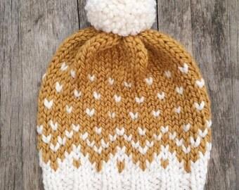 Mountain Toque, Knit Hat, Knit Beanie, Fair Isle Hat, Fair Isle Beanie, Chunky Knit Hat, Pom Pom Hat, Pom Pom Beanie