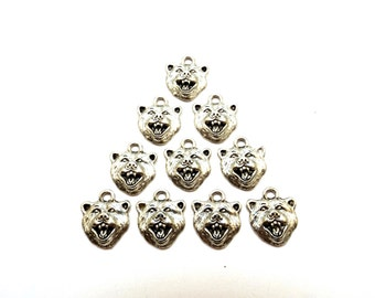 Ten (10) Pewter Grizzly Bear Charms - Mascot - Free Shipping in the US - (0154)