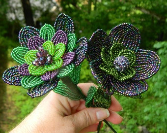 Iridescent Purple and Green French Beade Flower Duo
