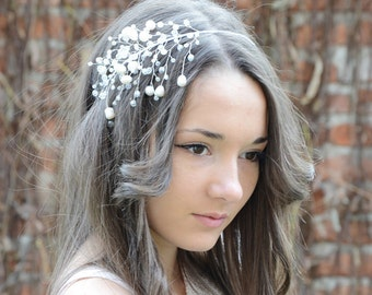 Bridal Hair Accessory, Bridal Crystals and Freshwater Pearls Tiara, Wedding crystal headband, crystal Hair piece, Bridal Crown Crystal Tiara