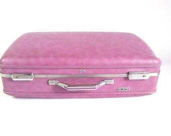 """Vintage American Tourister Purple Suitcase - 70s Hardside Luggage - Retro Travel Stewardess Burlesque Pin Up Valise Case - Large 24"""""""