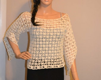 Cute Funky Custom Made Cotton Size Hand Crocheted Shirt - Sizes 0 to 20