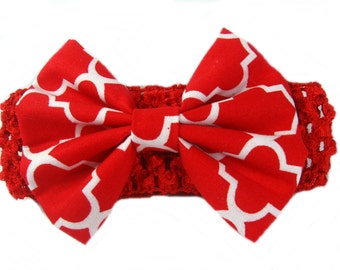 Baby Infant Girls Hair Band, Red White Bow Headband, Fabric Hair Bow Baby Bow, Red Headband