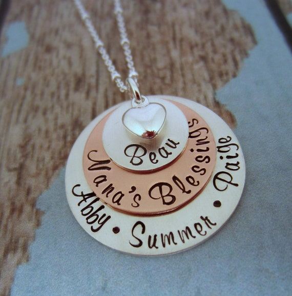 Grandmother necklace personalized grandmother jewelry nana for Grandmother jewelry you can add to