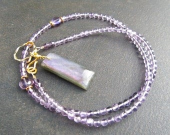 Purple Labradorite Necklace, Labradorite Pendant, Amethyst Necklace, Natural Stone, Purple Stone, Semi Precious, Gift For Her  1125