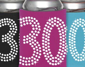 Set of 30th Birthday Rhinestone Can Cooler -Birthday Party Favor, Can Cooler ,Birthday Idea, Party Favor, Beverage Holder,Milesotne Birthday