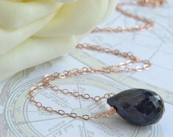 Blue Sapphire Necklace, Rose Gold Jewelry, Handmade, Cobalt Blue, Natural Sapphire, 14K Rose Gold Filled, Wire Wrapped