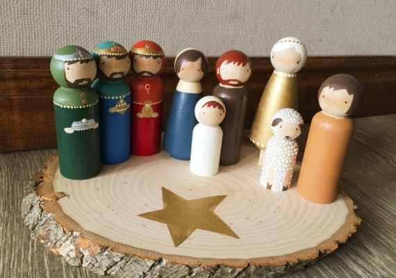 Peg Doll Hand Painted Christmas Nativity